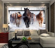 Run Horse encargo de la foto arte , papel pintado wallpaper restaurante sofá retro 3d telón de fondo del papel pintado 3d mural de papel decoración del hogar