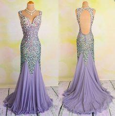Gorgeous Heavy Beaded Shinning Inexpensive Mermaid Open Back Long Prom Dress, WG271