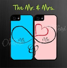 Mr. and Mrs. Infinity Iphone Case, Two Case Set, Wedding Iphone 4 case, Iphone 4s case on Etsy, $29.99