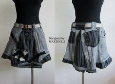 Gray Denim Recycled Skirt, Bohemian Style Skirt, Boho Chic Skirt, Recycled Jeans, Striped Skirt, Striped Boho, Appliqued Skirt I designed and