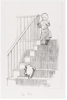 this looks like owen and lily when they head up the stairs :)    E H Shepard -  illustration for Winnie the Pooh