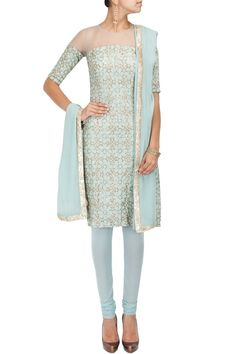 Pale blue star embroidered kurta set by PAYAL SINGHAL.