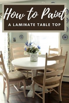 Do you have a laminate top dining table that you want to paint, but are not sure how to paint it so it will withstand the wear and abuse a table usually receives? I can help by showing you how I painted my table! Painting Laminate Table, Laminate Table Top, Kitchen Desks, Diy Kitchen, Furniture Makeover, Diy Furniture, A Table, Dining Table, Furniture Restoration