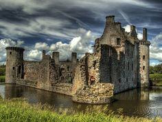 Caerlaverock Castle is a triangular moated castle dating back to the 13th century located south of Dumfries in the south west of Scotland, UK
