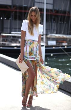street fashion #outfit #summer #hilow #skirt #floralprint #modern #simple #effortless #weekend #style #chic #glam #obsessed