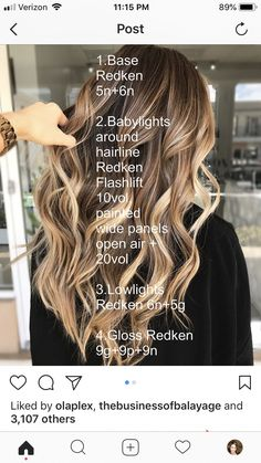Hair color idea – Welcome My World Cabelo Ombre Hair, Baliage Hair, Love Hair, Great Hair, Hair Color Formulas, Redken Color Formulas, Redken Hair Color, Redken Hair Products, Hair Color Techniques