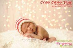 Christmas Baby Hat Criss Cross Pixie Bonnet by TrickyKnits, $38.00 #knitting #newborn photo prop
