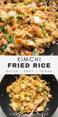 Quick and easy, vegan Kimchi Fried Rice recipe is made with veggies, kimchi, garlic, and ginger, and ready in just 30 minutes! It's full of tangy kimchi flavor and sure to be a weeknight favorite! #kimchi #vegankimchi #healthyrecipes #veganrecipes #plantbased Low Fat Vegan Recipes, Vegetarian Recipes, Healthy Recipes, Rice Recipes For Dinner, Whole Food Recipes, Kimchi Fried Rice, Kimchi Noodles, Vegan Fries, Vegan Fried Rice