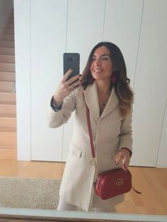 How to Wear Red: Red bag outfit . How to wear white in winter. Gucci Marmont Bag, How To Look Expensive, Spring Fashion, Winter Fashion, New Fashion Trends, Fashion Tips, White Trousers, Wear Red, Red Bags