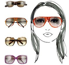 """""""Round faces have no angles. To give some length to your round face & make it look thinner, opt for sunglasses with an asymmetric top or bottom or rectangular sunglasses. However, keep in mind that extreme geometrics, like a mega-square or Lennon glasses look super jarring. Sunglasses with a flat bridge look fun. Also make sure to contrast angles with rounder edges."""""""