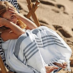 perfect for the beach- Fouta Oversized Towel combines smooth cotton on one side with looped cotton terry on the other