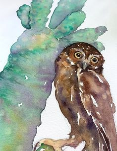 Original Painting 11x15: Little Owl | Etsy Watercolor Paper, Watercolor Paintings, Original Paintings, Washington Square Park, Little Owl, Enjoying The Sun, New Print, Blue Bird, Hanging Out