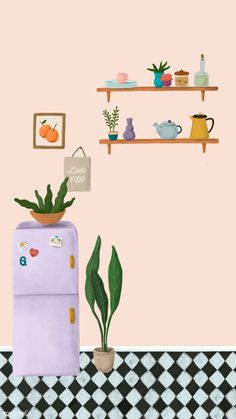 Purple fridge in a peach pink kitchen sketch style mobile phone wallpaper illustration Sketchbook Inspiration, Iphone Wallpaper, Peach Wallpaper, Clipart, Cute Wallpapers, Art Inspo, Art Projects, Illustration Art, Doodles