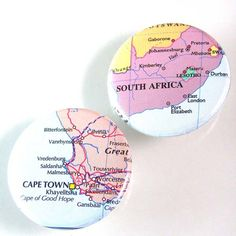 South Africa Map Pinback Button Set by XOHandworks.com $4.50