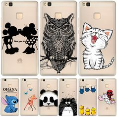 Soft Clear TPU Case For Huawei Ascend P8 P9 Lite Y3 II Y5 II Y6 II Y6 Pro Honor 7 8 5A 4C Cover Cartoon Silicone Phone Back Skin