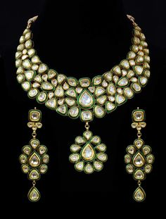 Bridal Wear Enamel (Kundan Meena) Necklace Set in 22k Gold & Diamonds (Polqui) #SitaramHanumandas