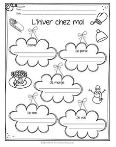 French winter writing activity – free - My Store French Flashcards, French Worksheets, French Teacher, Teaching French, Kindergarten Writing Activities, French Articles, French Practice, French For Beginners, French Education