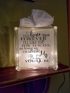 Dorm Room decor - Gift for kids - I'll love you forever - shower gift - graduation gift - gift for m Decorative Glass Blocks, Lighted Glass Blocks, Glass Cube, Glass Boxes, Diy Christmas Shadow Box, Christmas Wood, Christmas Signs, Christmas Ideas, Homemade Gifts