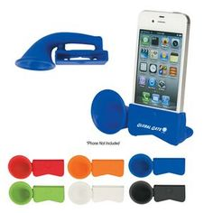 """Party pal silicone speaker.Party pal silicone speaker features no external power needed, unique horn design effectively amplifies phone's sound and compatible with iPhone 3, 4 and 5 series. 4 1/2"""" W x 1 3/4"""" H"""