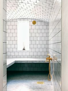 The steam room we will have one day... Every home should have:  White marble bathrooms with brass fixture
