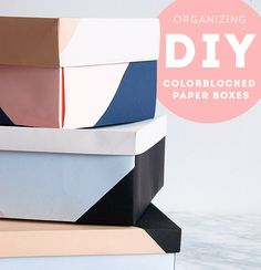diy color-blocked boxes for organization
