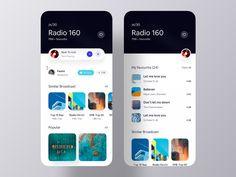 Broadcasting iOS App UI Exploration on Behance Ui Design Mobile, App Ui Design, Interface Design, User Interface, Flat Design, Design Design, Design Trends, Wireframe, Radios
