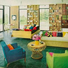 1968 Bold colors and novel forms (like the swinging sofa) push boundaries in a 1968 issue of House Beautiful.