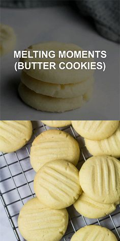 Strawberry Desserts Discover Melting Moments (Butter Cookies) Melting Moments (Butter Cookies) Deliciously soft buttery melt-in-your-mouth cookies that are infused with vanilla super easy to make and only requires 6 simple ingredients! Easy Cookie Recipes, Sweet Recipes, Baking Recipes, Halal Recipes, Sugar Cookies Recipe, Yummy Cookies, Melt In Your Mouth Butter Cookies Recipe, Easy Butter Cookie Recipe, Vanilla Shortbread Cookie Recipe