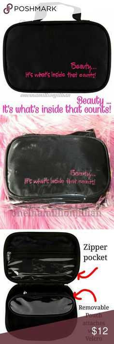 "Beauty .. It's What's Inside That Counts Bag New in Pkg/Sealed  ◇ Style: Makeup/Travel Case ◇ Color: Black with pink writing ◇ Size: Measures 8"" x 5 1/4"" x 2 1/2""  ◇ A cosmetic case with main zipper compartment + bonus bag that fits inside.  ◇ Bonus bag attaches securely with velcro. ◇ Outside of the bag reads: Beauty ... It's what's inside that counts!  Check my page for more great items & discounts. #oneinamillionjillian Bags Cosmetic Bags & Cases"