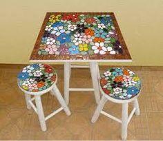 Billedresultat for mesa azulejos Painting Kids Furniture, Mosaic Furniture, Hand Painted Furniture, Mosaic Designs, Mosaic Patterns, Mosaic Diy, Mosaic Tiles, Stone Mosaic, Mosaic Glass