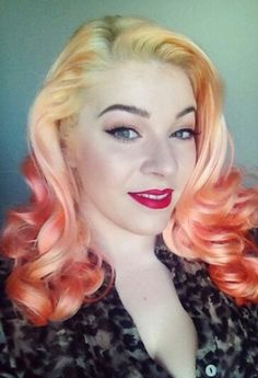 Blonde orange ombre dyed pastel haie