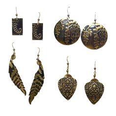 Embossed brass earrings - Cheri Aldrich | Touchstone Gallery