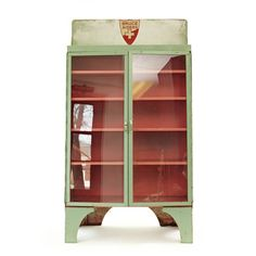 Bruce Aiders Cabinet,   I like the colors here together, vintage hospital light red and mint, ALSO thinking of painting the bakery hutch... and use it for food or crafts.   SOLD OUT  $328, now featured on Fab.