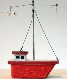 Red wooden boat with seagulls | eBay