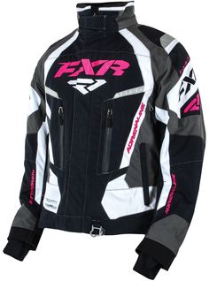 FXR Racing - 2015 Snowmobile Apparel - Women's Adrenaline Jacket - Black/White