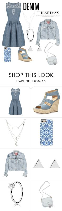 """Denim on Denim"" by mayra-mv ❤ liked on Polyvore featuring Oasis, MICHAEL Michael Kors, Charlotte Russe, Casetify, H&M, Jennifer Meyer Jewelry and Denimondenim"