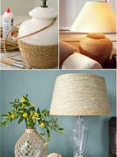 Sisal Lamps: You can renew your old lamp with a touch of sisal in it. Chose which part of your lamp you will cover (you can do it with the bottom part or the upper one) and glue the sisal around it. This creative idea will give a new look to your room! Sisal, Home Crafts, Diy Home Decor, Diy Crafts, Diy Luminaire, Diy Casa, Lamp Makeover, Lamp Redo, Creation Deco