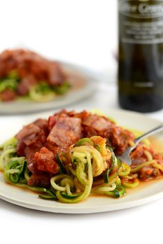 Zoodle Pasta with Veggie Marinara and Bacon by fitfoodiefinds #Zucchini #Veggie #Bacon #Low_Carb