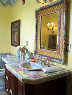 Love The Colored Tiles And Sink Bowl And Same Colors Incorporated On The Mirror Frame, Beautiful! My mirror-glue on sea shells and beach glass Mckenzie And Childs, Powder Room Decor, Funky Painted Furniture, Bathroom Pictures, Romantic Homes, Color Tile, Bathroom Colors, House Painting, Kids Room
