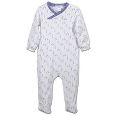 Feather Baby Girls Clothes Pima Cotton Long Sleeve Crossover Ruffle Footie Sleep 'N Play Coverall Romper