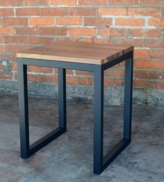 Edge Wood Industrial Side Table