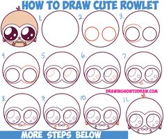 How to Draw Cute Kawaii Chibi Rowlet from Pokemon Sun and Moon Easy Step by Step Drawing Tutorial for Kids and Beginners