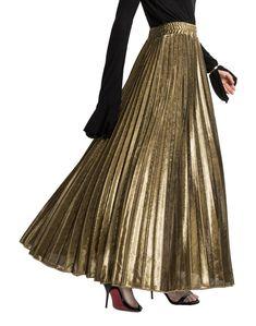 CHARTOU Womens Premium Metallic Shiny Shimmer Accordion Pleated Long Maxi Skirt (XX-Large Gold) - Gold Dresses - Trending and beautiful Gold Dresses - Gold Skirt, Maxi Skirt Black, Metallic Skirt, Beach Maxi Skirt, Long Maxi Skirts, Women's Skirts, Velvet Skirt, Satin Skirt, Chiffon Skirt