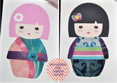 The Phenomenal Mama: DIY: Kokeshi Fashion Bookmarks for a crafternoon party Crafts For Teens, Arts And Crafts, Diy Crafts, Teen Crafts, Diy Bookmarks, Study Japanese, Pretty Designs, Kokeshi Dolls