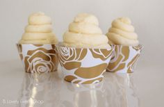 NEW! Gold Rose Cupcake Wrappers, Gold Cupcake Wrappers, Modern Cupcake Wrappers…