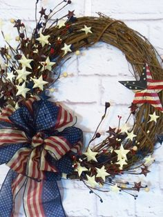 Patriotic wreath americana wreath rustic red white by dazzlement patriotic wreath, of july wreath Patriotic Wreath, Patriotic Crafts, July Crafts, Flag Wreath, Patriotic Party, Wreath Crafts, Diy Wreath, Grapevine Wreath, Wreath Ideas