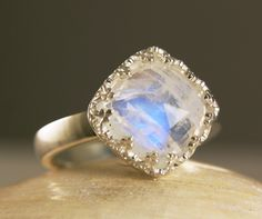 Square Rainbow Moonstone Ring Sterling Silver Natural Blue Stone Crown of Hearts Triple A 10mm-made to order in your size. $79.00, via Etsy.