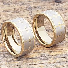 The 10mm Gold Religious Wedding Band, Cross Ring, Tungsten Wedding Band from Forever Metals. Lifetime Warranty and Free Shipping. Celtic Wedding Bands, Tungsten Wedding Bands, Wedding Rings, Vintage Diamond Rings, Antique Rings, Yellow Gold Rings, White Gold Diamonds, Engagement Ring Settings, Engagement Rings