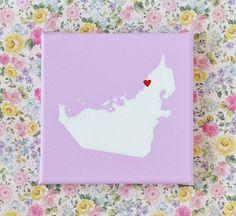UAE Dubai Map Love Painting on Canvas Lilac