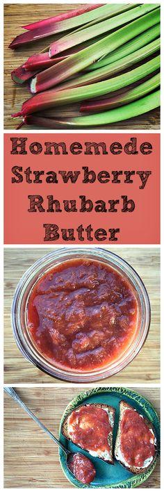 Strawberry Rhubarb Butter - Got rhubarb? Make this simple and tasty strawberry rhubarb butter. You won't regret it! Yummy Appetizers, Yummy Snacks, Delicious Desserts, Yummy Food, Yummy Mummy, Yummy Eats, Rhubarb Butter, Pear Butter, Olio Recipe